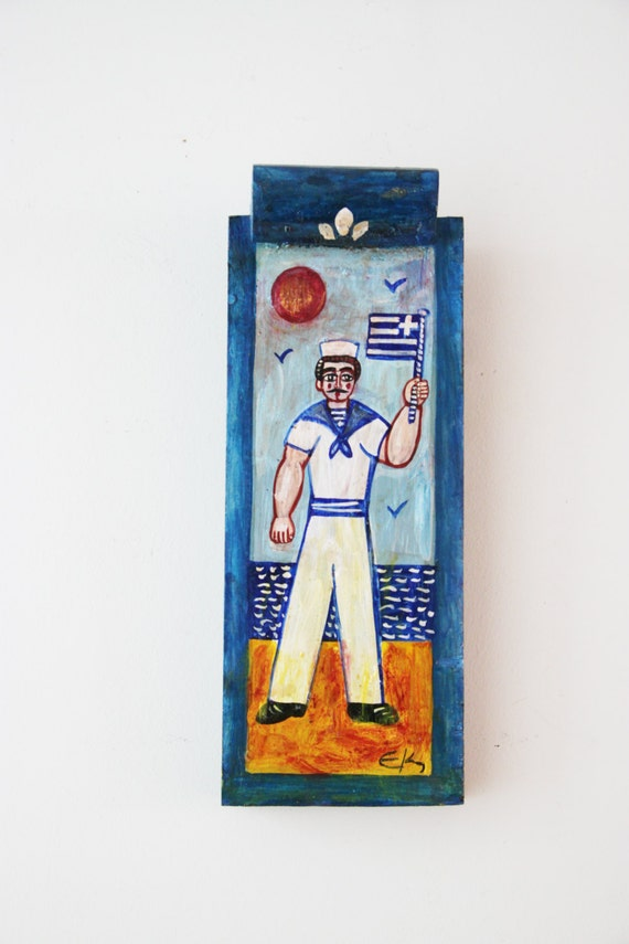 Greek sailor painting, vintage folk art painting of Greek sailor on salvaged wood, art brute- art naif painting of sailor with Greek flag