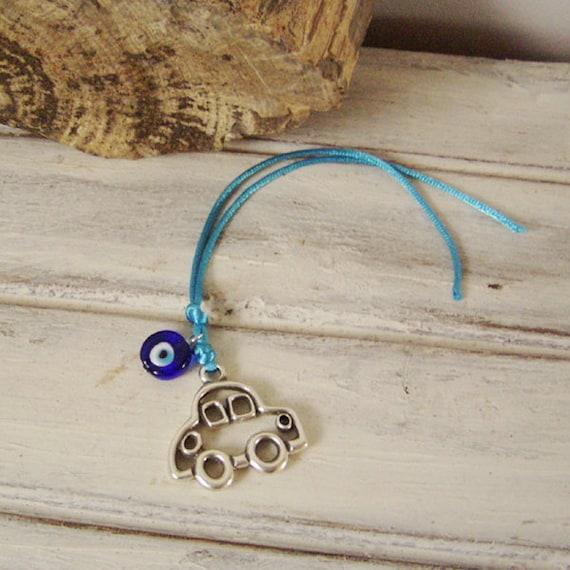 New car charm, silver car charm, alloy car charm with blue eye bead and rat tail satin ribbon,  Greek charm for cars, good luck car charm