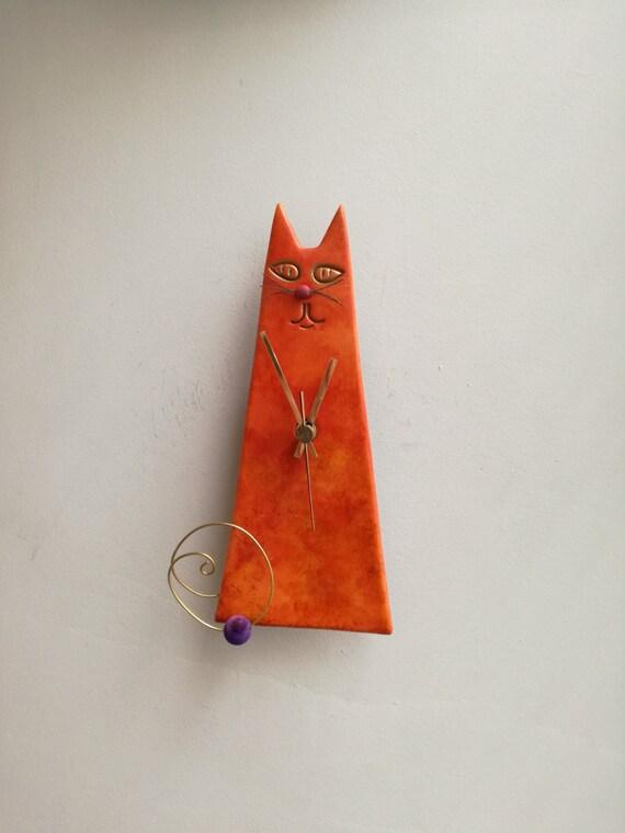 Orange cat clock, ceramic wall clock of orange red cat, cone shaped cat clock, sitting cat clock, nursery decor clock, veterinarian clock