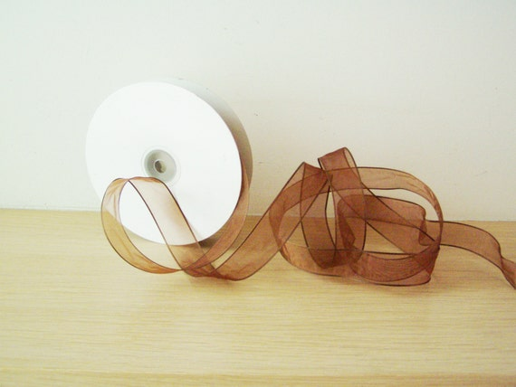 Clear brown ribbon, wired, transparent Christmas, organza ribbon in chocolate brown, Xmas crafts  wired ribbon, Holiday trim, 5 yards
