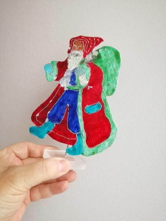 Retro colourful Santa on plexi base, vintage metal, Santa sculpture, hand painted handcrafted Santa figurine, Greek folk art Santa