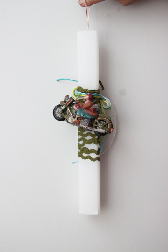 Greek Easter candle with vintage toy, boys' white Easter candle with vintage, wind up toy of biker and olive green,chevron ribbon