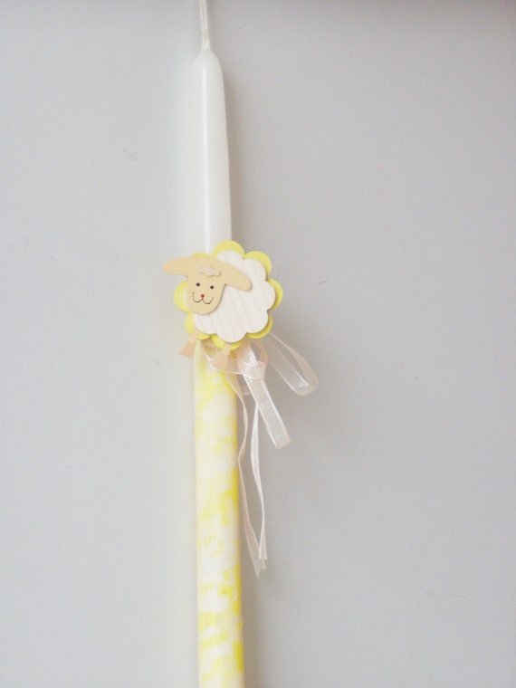 Sheep Easter candle, Greek Easter candle with wooden sheep decor, boys and girls Easter candle in white and yellow, Greek Easter lambada