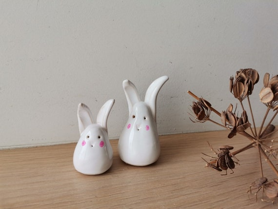 White bunnies set, ceramic bunny figurines, bigger and smaller, milky white handbuilt bunny miniatures, set of two cute bunnies