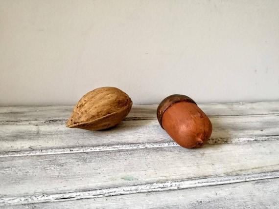 Large ceramic almond fruit, matte finish, natural texture and looks ceramic almond, fruit decor ceramic almond, life like ceramic almond