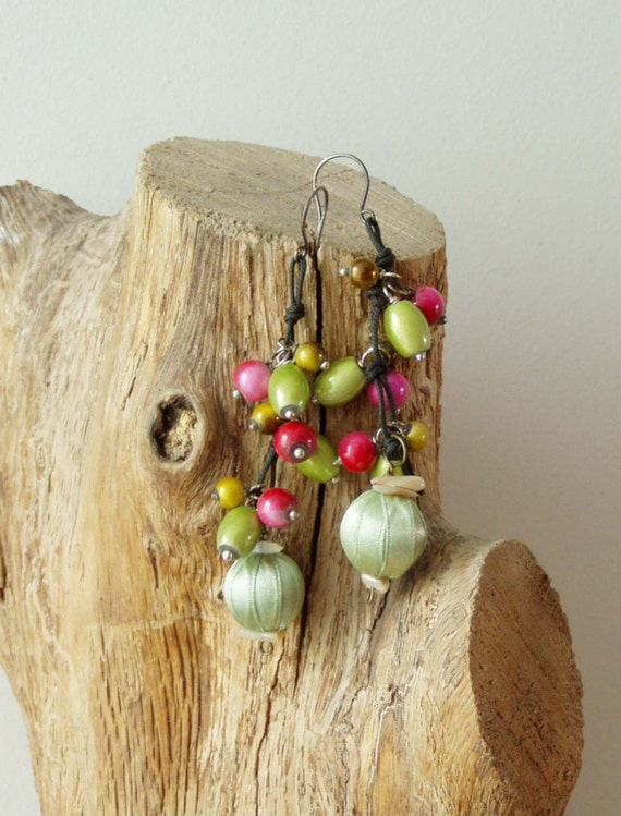 Dangle beaded earrings, colourful beaded earrings in fabric and wood, mint, red, lime and yellow dangle earrings with sterling hooks