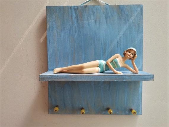 Retro swimmer key organiser, wooden shelf with swimmer girl figurine, wooden key holder for decorative swimmer figurine, beach house decor