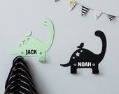 Personalised Two Metal dino wall hooks