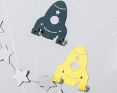 Two spaceships wall hooks