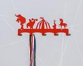 Red circus theme coat rack