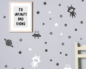 Space Wall Decal / Vinyl Sticker / Laptop Stickers / Kids Wall Decal / Space Wall Stickers / Space Retro
