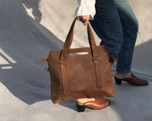 Brown leather tote bag with crossbody strap, tote with zipper & pockets, everyday handbag leather for her, laptop office bag