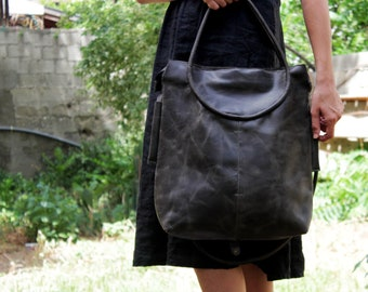 Gray leather tote zipper,  Italian leather crossbody tote, zipper tote, leather bag for women, handmade leather bag, two wearing variations