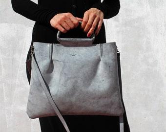 7ceef08bcbba Gray leather crossbody purse