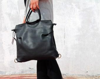 Black leather bag, leather backpack for women, laptop backpack, top handle handbag, handmade leather bag,leather bag for everyday use
