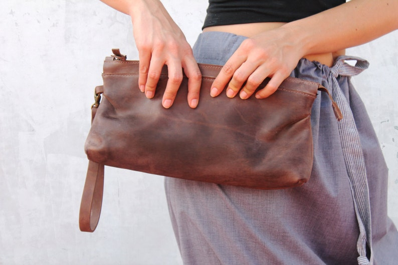 Brown leather clutch big leather clutch brown clutch image 0