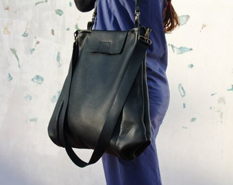 Large tote bag, leather tote, black leather bag, crossbody bag, leather tote bag with pockets, oversize leather bag for women, for her