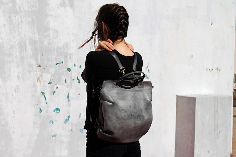 Leather backpack bag Gray leather backpack Gray leather bag image 0