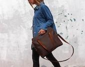 Brown leather bag, leather crossbody, crossbody handbag, leather tote, brown leather tote, tote with zipper, valentine's gift