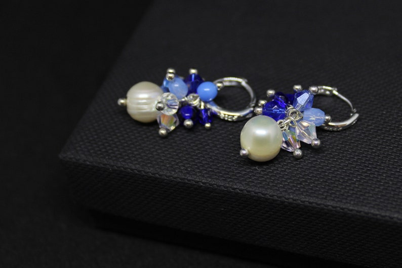 Blue pearl earrings for bridesmaids