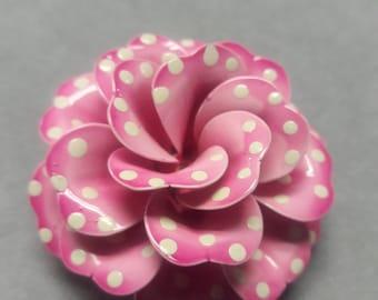 Big Pink Metal Flower Pin Brooch