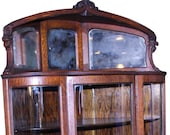 18294 Victorian Oak Triple Curved Glass Corner China Closet
