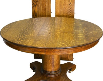 Round Oak Table Etsy