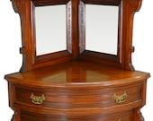 17326 Rare Unusual Victorian Curved Glass Door China Closet