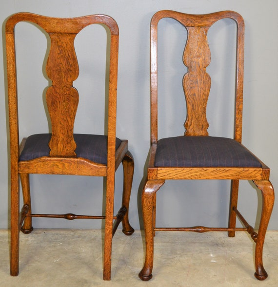 Magnificent 17714 Set Of Six Oak Queen Anne Dining Chairs Unusual Dailytribune Chair Design For Home Dailytribuneorg