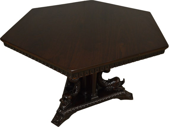 Carved Dolphin Headed Six Sided Dining Table Fantastic Etsy - Six sided table