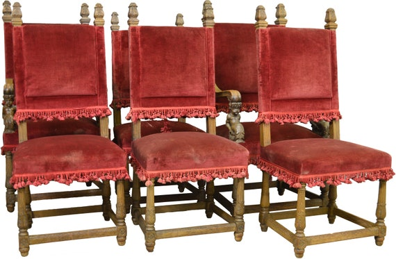 17473 Set of 6 Oak Oversize Dining Chairs with carved Figures