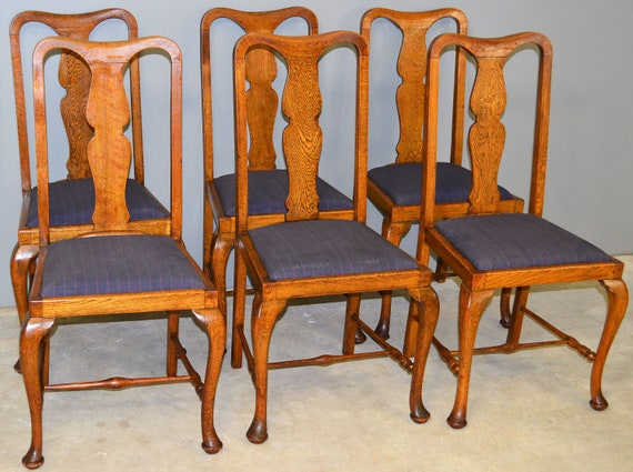 Strange 17714 Set Of Six Oak Queen Anne Dining Chairs Unusual Dailytribune Chair Design For Home Dailytribuneorg