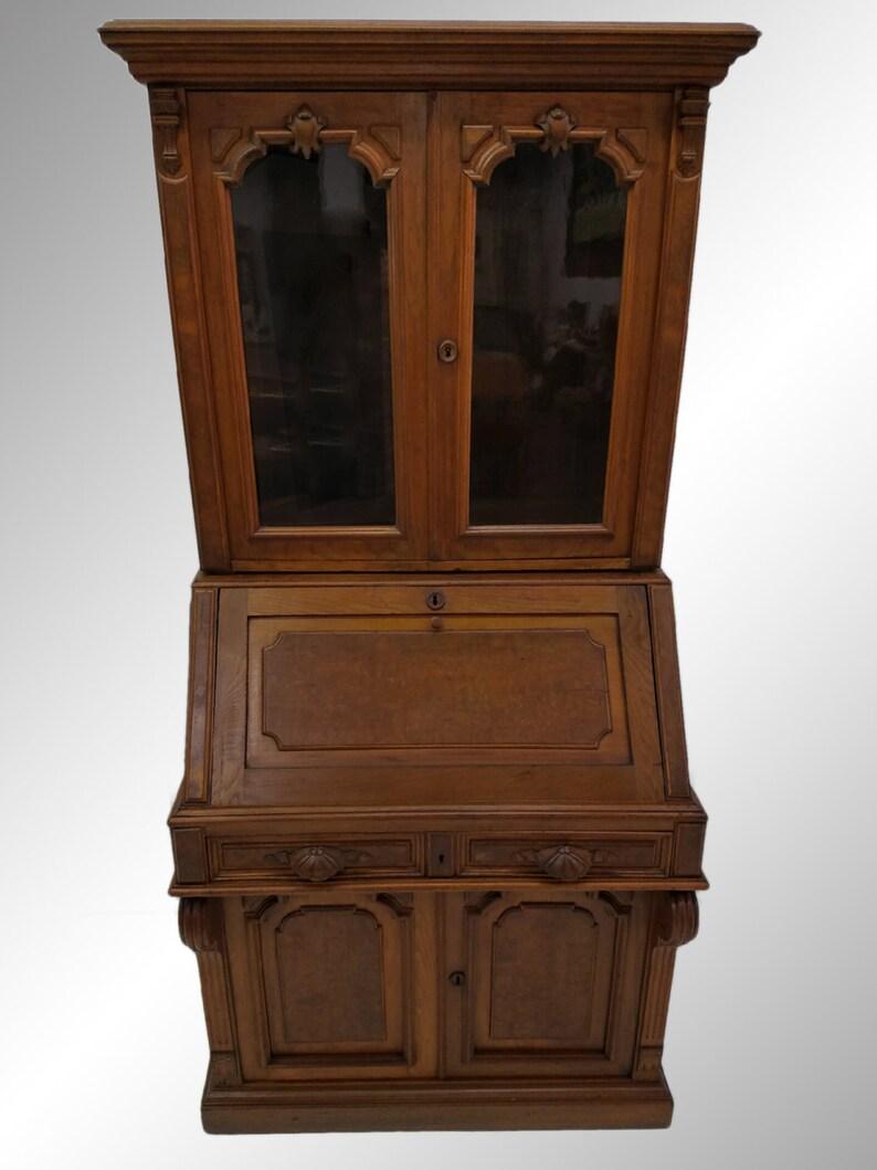 Antique Secretary Desk Etsy >> 19525 Antique Victorian Civil War Era Walnut Secretary Desk