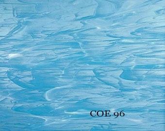 251ca22f05b Spectrum COE 96 Sky Blue Wispy White Translucent Fusible Glass Sheet 83391SF