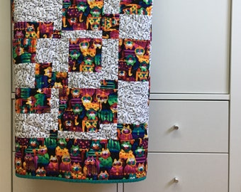 Cat lover quilt lap quilt personalized quilt, made in Canada #196