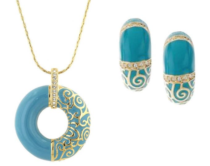 Jackie Kennedy Jewelry SET - Necklace and Earrings in Turquoise and Gold with Certificate - TMS2