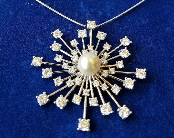 Jackie Kennedy Starburst Necklace - Silver with Crystals - 260