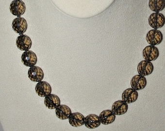 "Joan Rivers Beaded Necklace - 18"" Smoky Grey Faceted Glass Beads - S3005"