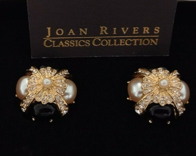 Joan Rivers Black and White Clip On Earrings - S3201