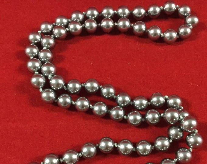 Nolan Miller Pearl Necklace - 36 Inch Gray Necklace with Snap Clasp - S2057