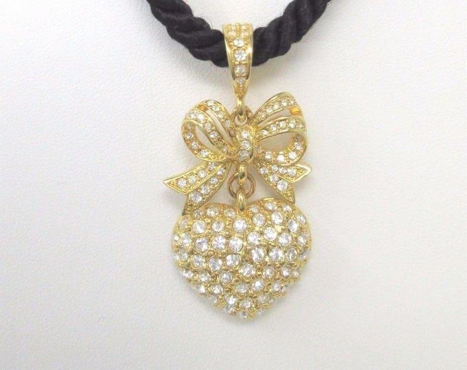 Joan Rivers Crystal Heart Pendant on Adjustable Black Cord - S2300