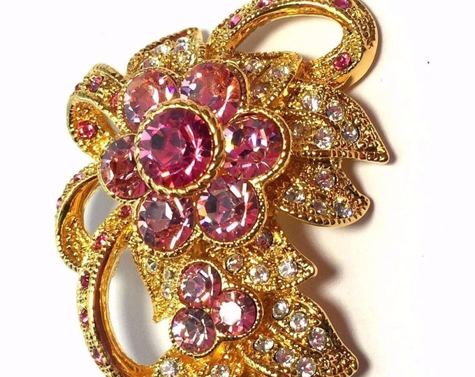 Jackie Kennedy Pink Floral Brooch with Certificate - 58