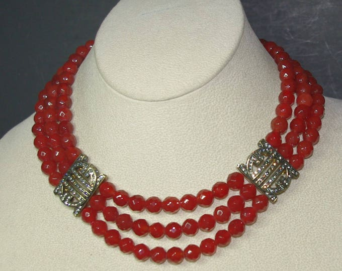 50% OFF - Red Necklace with Glass Beads and Crystal Accents - S2247