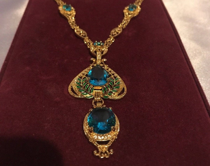 Jackie Kennedy Necklace - Gold with Aqua Stones and Certificate