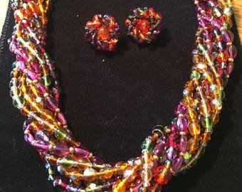 Joan Rivers Torsade SET - Necklace & Earrings Multi Color Czech Glass Beads - S2222