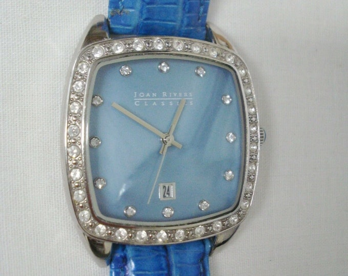 Joan Rivers Watch - BLUE or WHITE -  Leather Band, MOP Face and Crystals - S3216