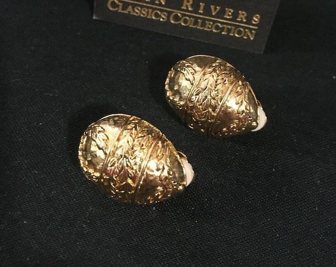 Joan Rivers Egg Earrings - Gold Clip On - S3236