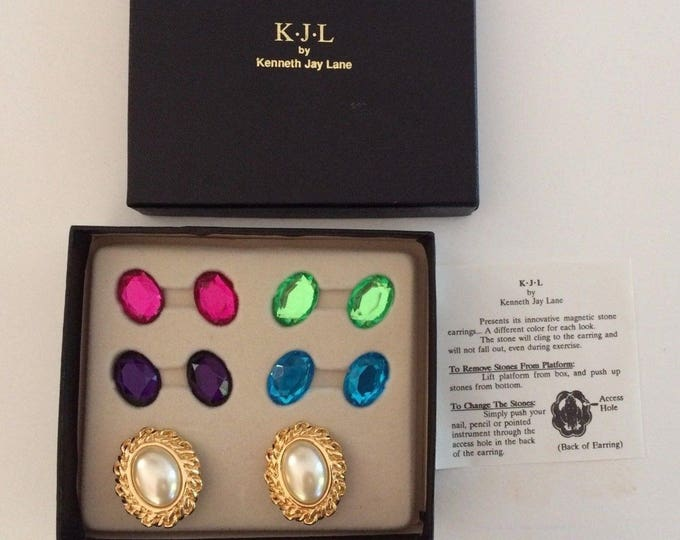 Kenneth Lane Clip On Earring Set with Changeable Stones - S2200
