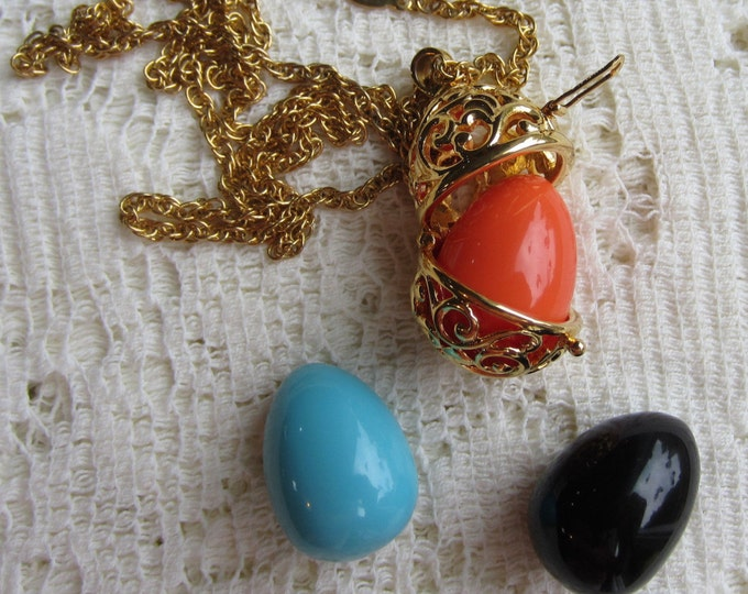 Joan Rivers Caged Egg Necklace with 3 Inserts - S1798
