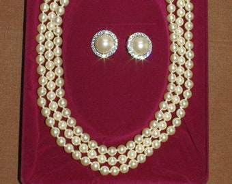 Jackie Kennedy PEARL SET, Triple Strand Necklace and Earrings - Stud or Clip-on
